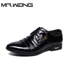 Cheapest Working Office shoes mens patent leather Oxfords business wedding Bright shoes lace up Pointed toe leather flats AB-21