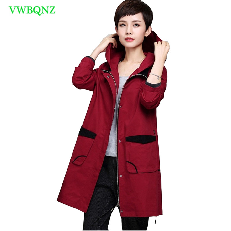 Add Cotton Windbreaker Coat Women Spring Autumn Loose Long   Trench   Coats Women's High quality Plus size Hooded Overcoat 4XL A128