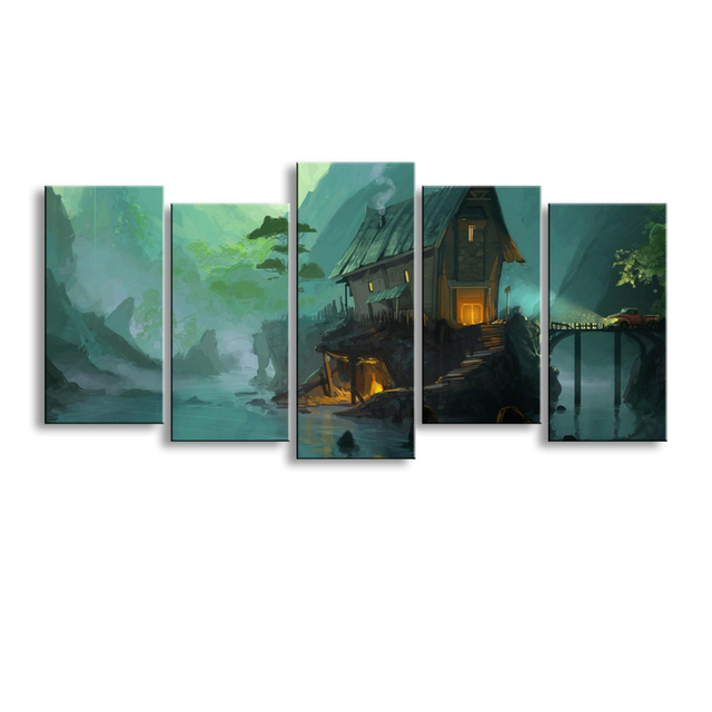 5 pieces high definition print fantasy art architecture canvas oil