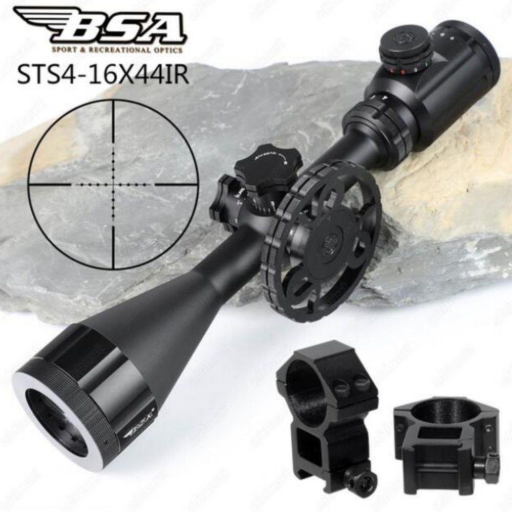 BSA Stealth Tactical STS 4 16X44 IR Hunting Optics Riflescopes Side Parallax Glass Etched Mil Dot Reticle Turrets Lock Scope