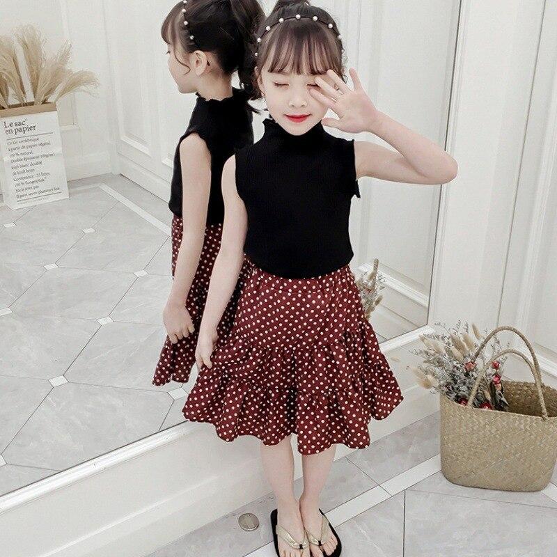 Mihkalev kids clothes girls summer set black tshirt+dot skirt 2pieces baby girl outfits children clothing sets kids tracksuit