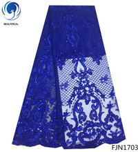 BEAUTIFICA Latest mesh Tulle Lace Fabric African Sequins Laces 2018 With for women 5yards/lot FJN17