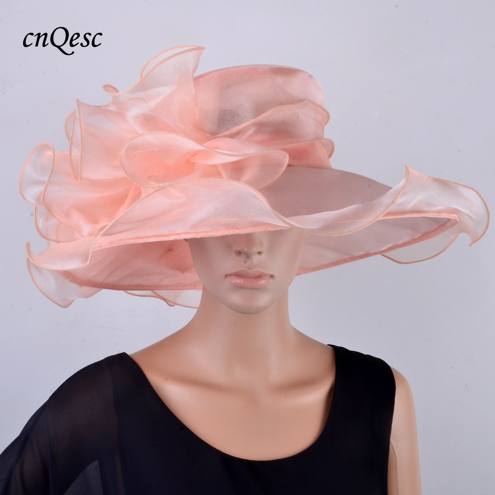 570dcc20a US $26.0 |NEW Chapeau Nude pink Large brim Crystal Organza wedding Hat  sinamay hat fascinator for Kentucky Derby,Church,races,party-in Women's  Fedoras ...