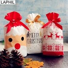 LAPHIL рождественские подарочные сумки Санта Клаус Рождественская елка упаковочные сумки счастливый год Рождественские Сумки для конфет Navidad