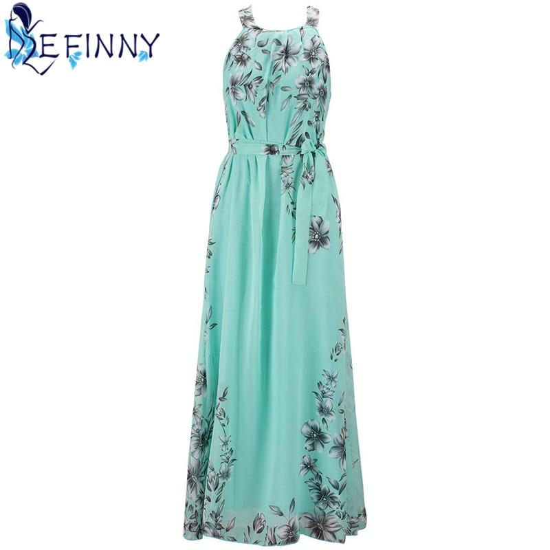 2018 Fashion Summer Women Elegant Boho Long Maxi Dress Charming O-Neck Chiffon Lady Evening Party beach Dress Plus Size S-6XL 1