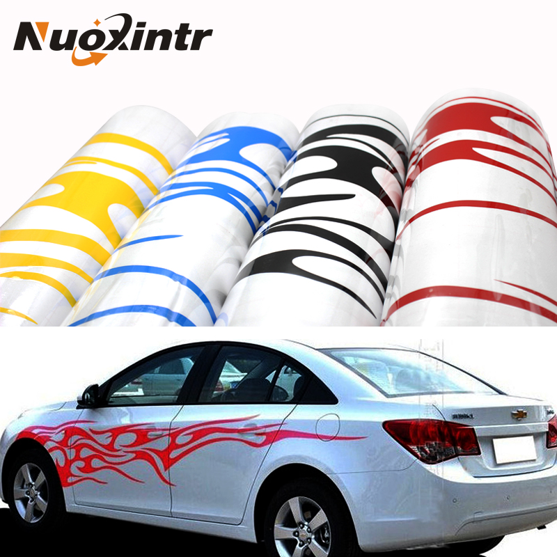 Nuoxintr 1Pair Universal Fire Flame Car Sticker Decals Decor Vinyl Decoration Stickers Auto Truck Styling for The Whole Car Body auto 1 pc car styling universal rear mirror rain board eyebrow visor shade shield water guard for car truck free shipping so 16