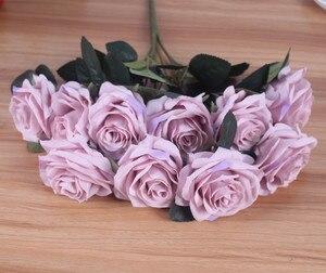 Image 5 - Yapay ipek 1 demet fransız gül çiçek buketi sahte çiçek yerleşim tablosu papatya düğün çiçekler dekor parti aksesuarı Flores