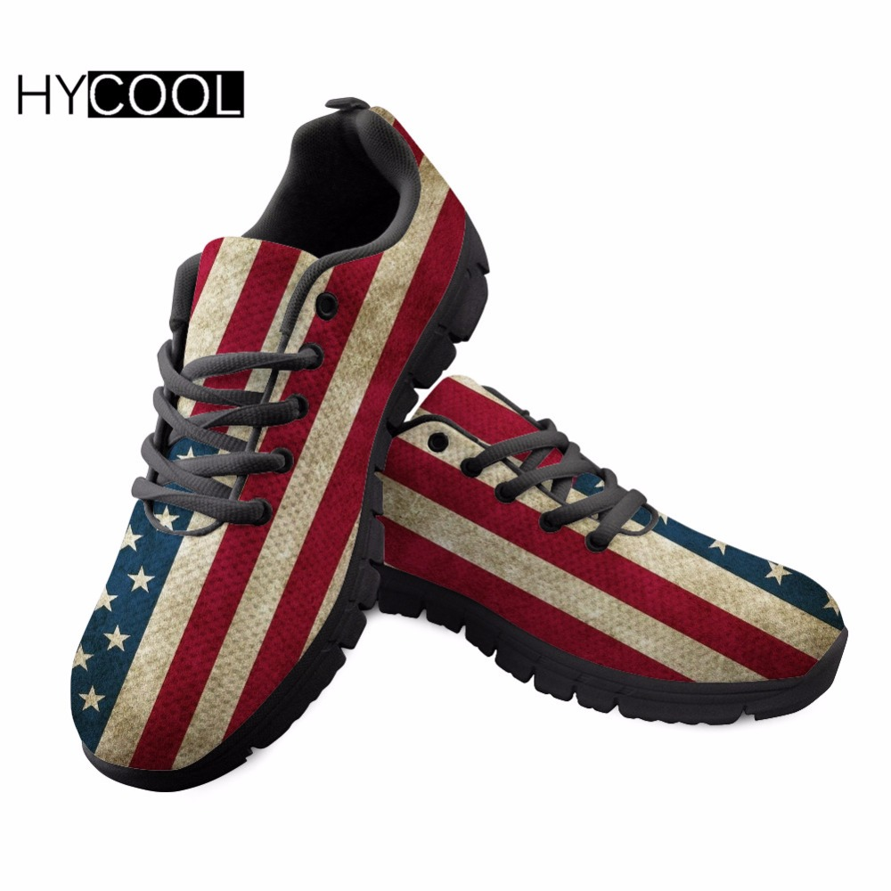 HYCOOL Hommes/Femmes Respirant Chaussures de Course des Femmes Sneakers Pour Fitness Imprimé Américain Drapeau National Gym Athletic Maille Chaussures