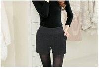 Mujer plus tamaño de primavera otoño Rectos de Cintura alta Elástica gruesa delgada de la señora de bolsillo ocasional de invierno de gran tamaño shorts solid
