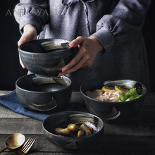 ANTOWALL Korean style retro ceramic  tableware household rice bowl large noodle soup bowl personalized restaurant dish bowl 5 6 8 inch japanese cherry blossom ceramic ramen bowl large instant noodle rice soup salad bowl container porcelain tableware