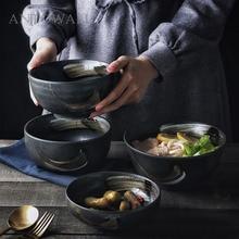 ANTOWALL Korean style retro ceramic  tableware household rice bowl large noodle soup bowl personalized restaurant dish bowl ceramic noodle bowl ramen bowl restaurant ceramics dish rice fruit soup bowl noodle restaurant kitchen tableware