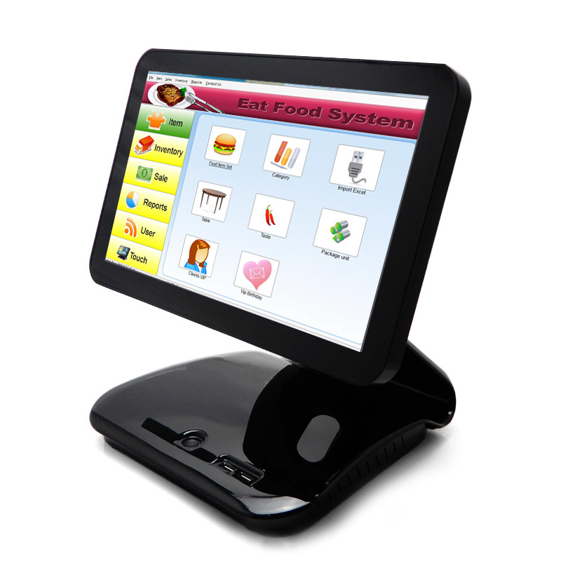 Free shipping China pos factory supermarket cashier a touch touch pos system touch computer and metal materials with shabu card