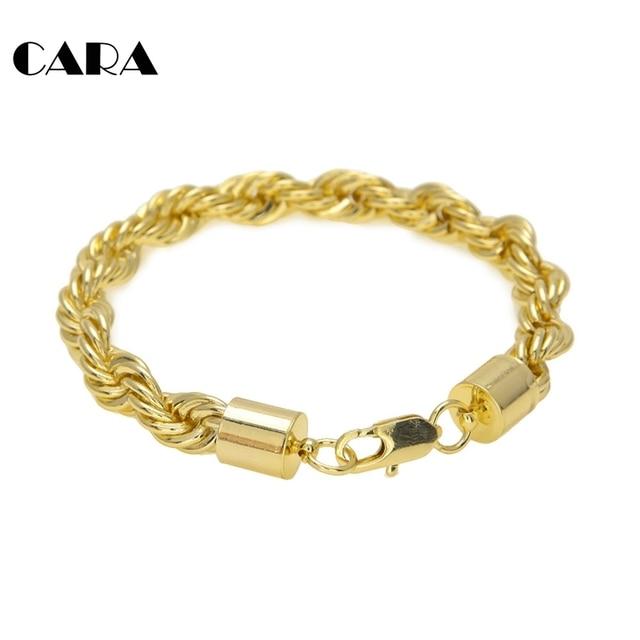 3cc63d8b5767 CARA mens Gold color Plated Iron alloy Twisted singapore chain bracelet  6mm 10mm twist chain bracelet bangle CAGM0064