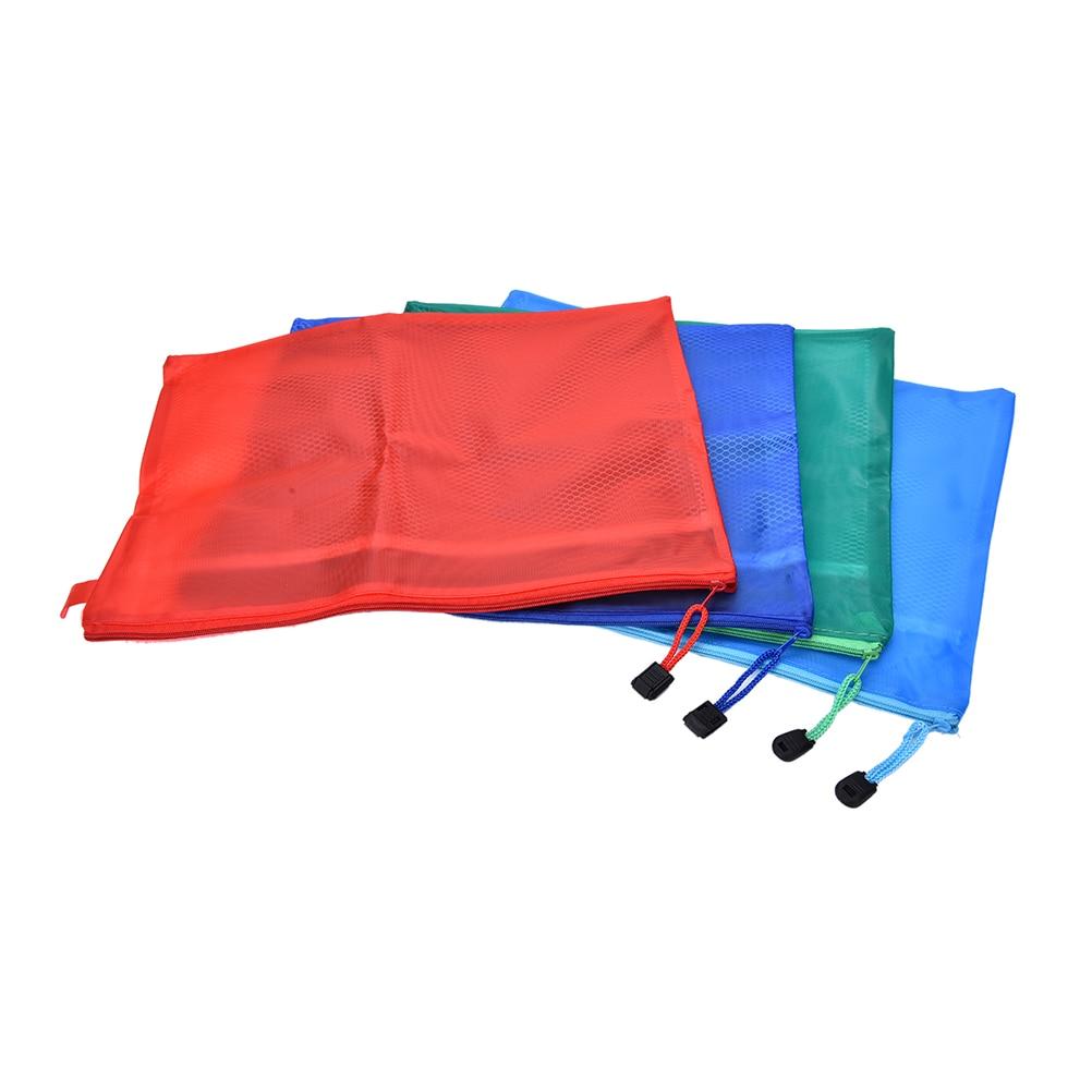 1pcs Waterproof A4 Plastic File Folder Bags Zipper Storage Bag Document Cosmetic Bags Color Randomly