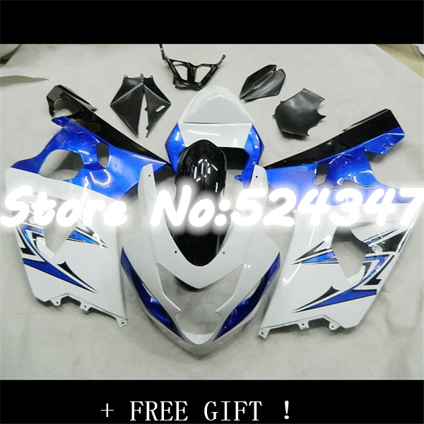 fairing for Motocycle white blue black <font><b>GSXR</b></font> <font><b>600</b></font> 750 <font><b>2004</b></font> 2005 K4 GSXR600 GSXR750 04-05 R600 R750 K4 image