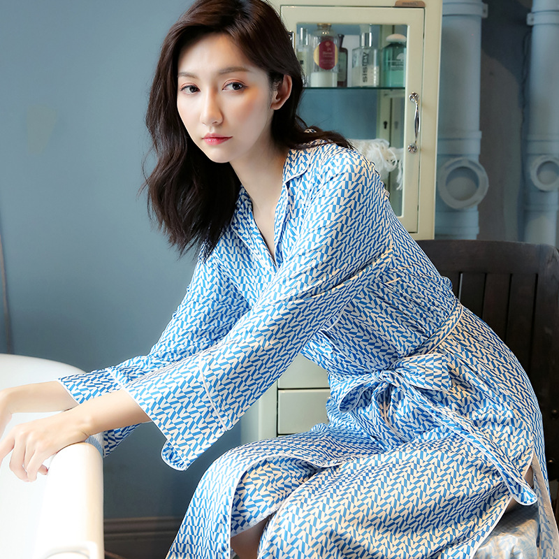 Women's Pajamas Long Sleeve Thin Spring&autumn Ice Silk Nightgown Full Long Robe Lingerie Dress Pink Pajama Dress robe nightgown