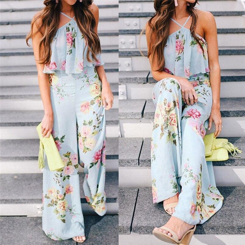 Fashion summer jumpsuit woman 2018 Strap Floral Sleeveless Backless Jumpsuit Long Wide Leg Trousers pantaloni siamesi J28#N (11)