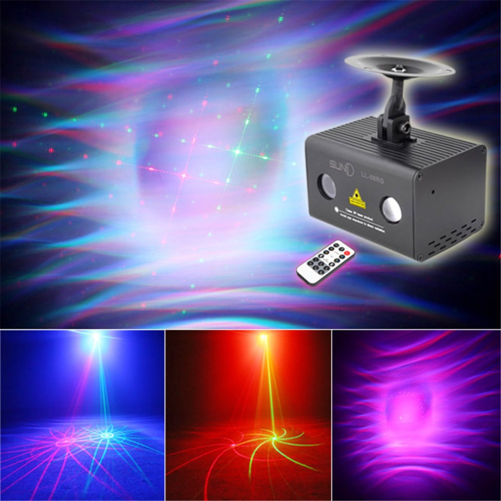 AUCD Mini Aurora Remote 8 Patterns RG Laser Lighting Xmas Water Galaxy RGB LED Projector Party DJ Home Show Stage Light LL-08RG rg mini 3 lens 24 patterns led laser projector stage lighting effect 3w blue for dj disco party club laser