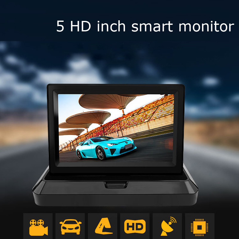 New 5 / 4.3 Inch Foldable HD Car Rear View Monitor Reserving Digital LCD TFT Color Display Screen Vehicle Rearview 2 Video Input