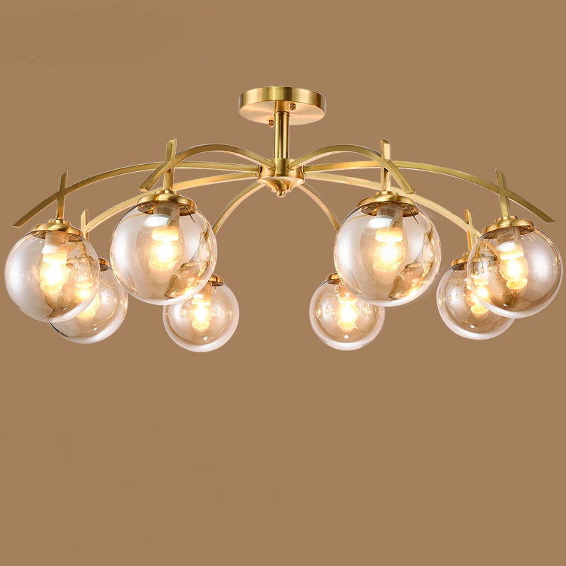 3/6/8 heads pendant light all copper ceiling type living room lamp Chinese dining room pendant lamps ZA8812 3 heads pendant lamps dining room glass pendant light living room lights bedroom pendant lamps iron lamp fg552