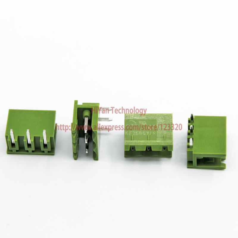 (20sets/lot) Pcb Screw Terminal Block Connector Kf2edgk 3p And 90 Degree Pin Header Pitch:5.08mm/0.2inch Green 10a 300v 3pins