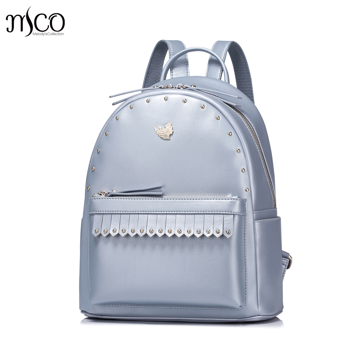 Women PU Leather Backpack Fashion Tassel Female Daily Shoulder Bags Ladies Daypack gilrs Schoolbag Rivet Elegant Travel Rucksack free shipping backpack women white and black travel pu leather backpacks ladies fashion female rucksack back bags