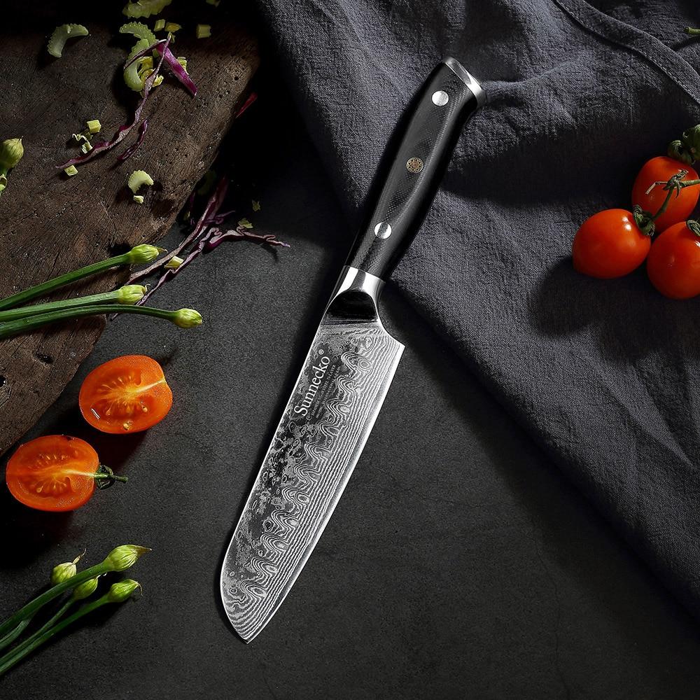 Sunnecko 5 7 Santoku Chef Knife Kitchen Knives Japanese Damascus VG10 Steel Razor Sharp Blade Meat