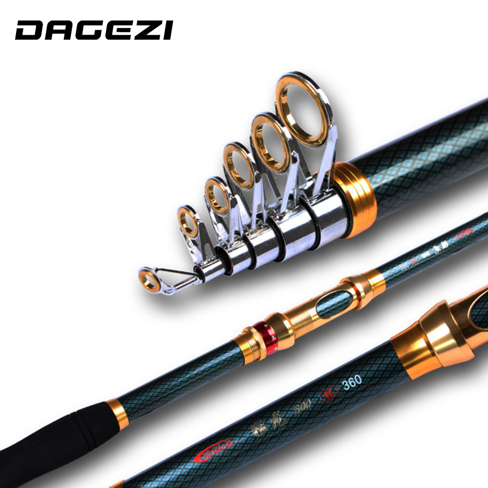 DAGEZI High Carbon Telescopic Fishing Rod Superhard Ultra Hard Rod Carbon 2.1M-3.6M Fishing Rod Spinning Fishing Pole