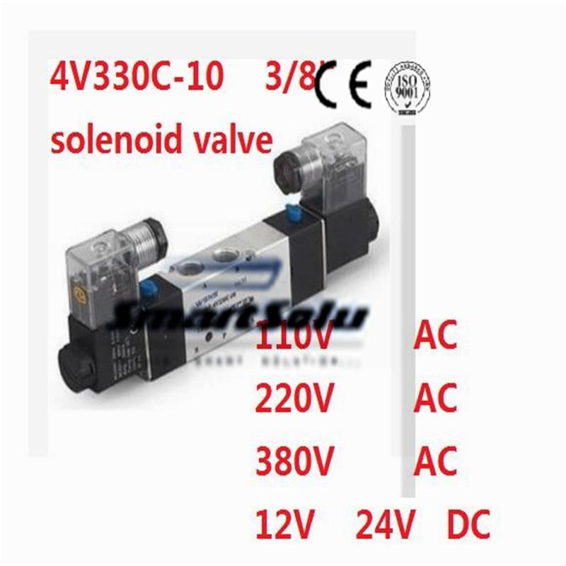 Free shipping Pneumatic air solenoid valve 4V330C-10 Double coil 3/8 BSP AC110V 5/3 way control valve Plug type 10mm dia pneumatic control air solenoid valve coil ac 220v 6va