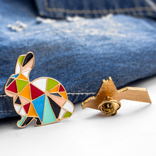 Cartoon Geometry Paper Crane Rabbit Multicolor Rainbow Brooch Fashion Creative Splicing Animal Enamel Pins Badges Jewelry
