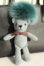 Фотография Fluffy Genuine Fox Fur Ball Pom Pom Mini Plush Stuffed  Teddy Bear Keychain Bear Key Chain Women Bag Accessories Bag Pendant