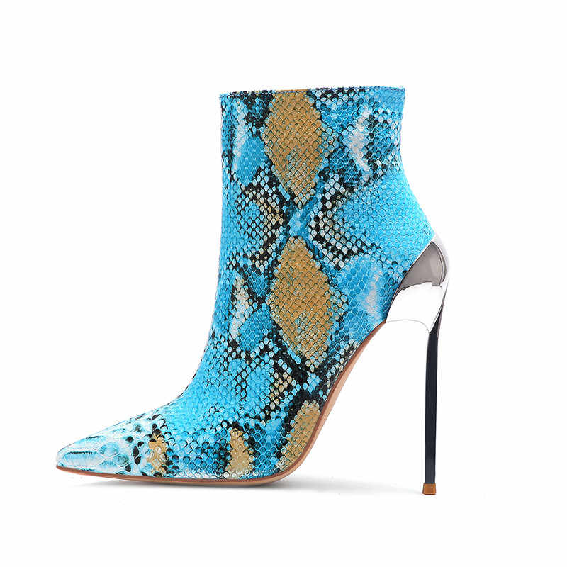COCOAFOAL Herfst Snakeskin vrouwen Enkellaarsjes Vrouw Hoge Hakken Schoenen Metalen Decoratie Martin Laarzen Snakeskin Chelsea Laarzen