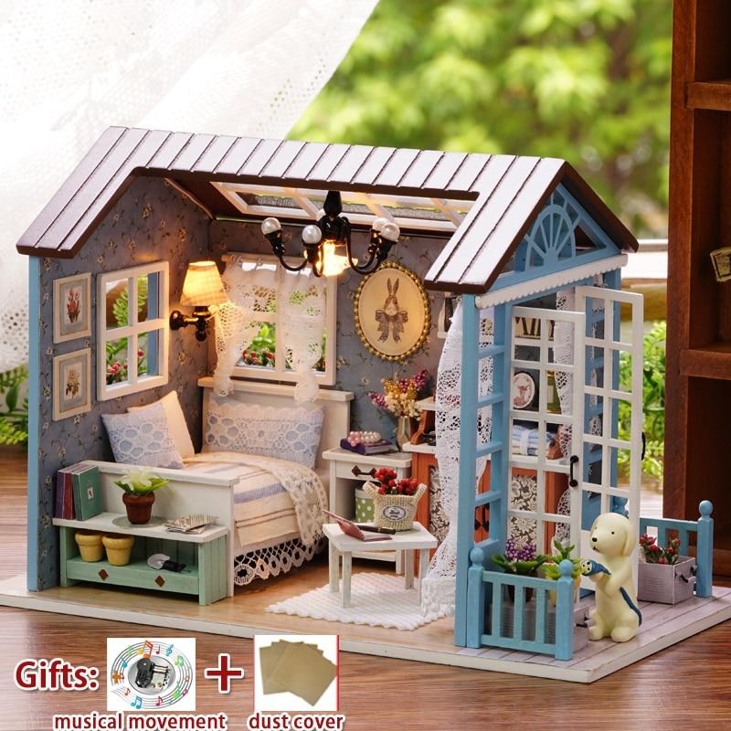 Miniatura Dollhouse Diy Mini Wooden House FOREST TIMES with - Տիկնիկներ և պարագաներ