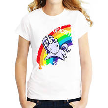 Funny T Shirts Short Graphic Rainbow Horse Crew Neck Womens