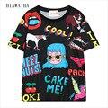 Hiawatha Carácter Impreso Camisetas Harajuku Verano de Las Mujeres de Manga Corta Camisetas Frescas Letras O-cuello Flojo Tops Tees T2264