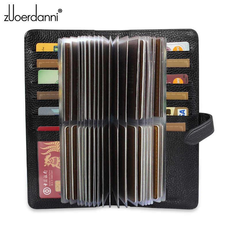 Nowa moda klamra posiadacz karty prawdziwej skóry mężczyzn etui na karty kredytowe kobiety Bank/saszetka na dowód osobisty duża pojemność