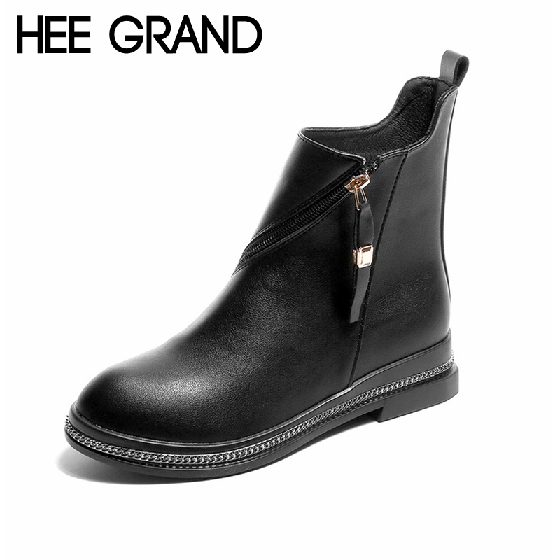 купить HEE GRAND Winter Ankle Boots Women Warm British Fashion Platform PU Motorcycle Ankle Boots Shoes Woman Size 35-40 XWX6070 по цене 784.18 рублей