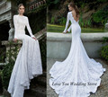 2015 Russian Style Berta Bridal Dresses Lace Mermaid Wedding Dress Long Sleeve Open Back Court Train Robe de Marriage