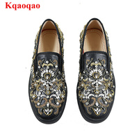 Round Toe Men Shoes Low Top Crystal Embellished Luxury Brand Leather Breathable Sneakers Loafer Flats Gold Embroider Casual Shoe