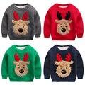 Мальчик верхняя одежда сгущает камуфляж флис футболка Рождество лося зимой плюс бархат детские детская одежда пуловер топ