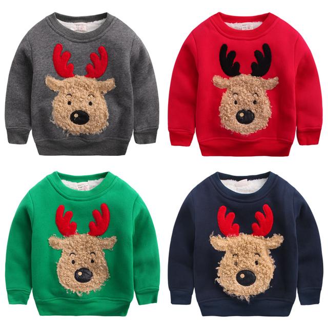Boy prendas de abrigo espesar camo fleece sudadera alces de Navidad de invierno, además de terciopelo ropa infantil bebé suéter superior