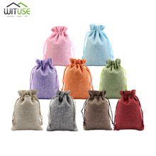 10Pcs 10x14cm 13x18cm Linen Drawstring Pouch Jewelry Bag Jute Christmas/Wedding Party Candy Gift Gunny Packaging Bags