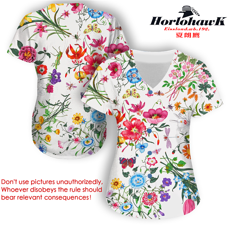 Horlohawk 2017 New Baseball Jersey US Size Women's High Quality Print Floral Flowers Sports White Jersey
