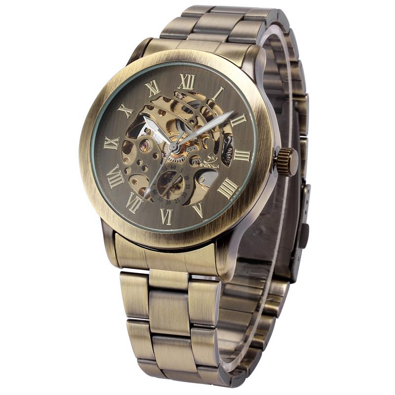 Prix pour SHENHUA Classique Bronze Squelette Montres En Acier Inoxydable Bande Montre-Bracelet Homme Automatique Mécanique Mâle Horloge Relogios