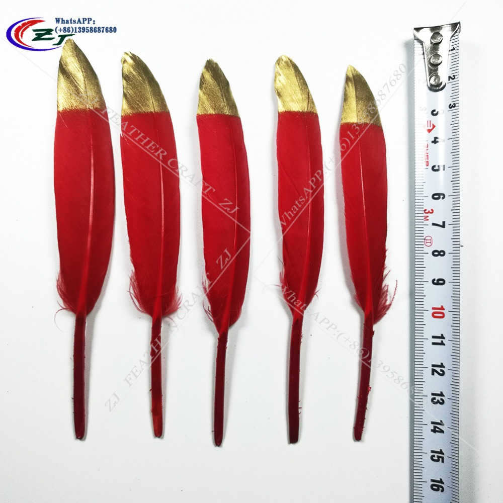 New Arrival 100Pcs DIY Natural Goose Feathers For Home Decor Earrings Jewelry Clothing Accessories 10-15cm gold/red