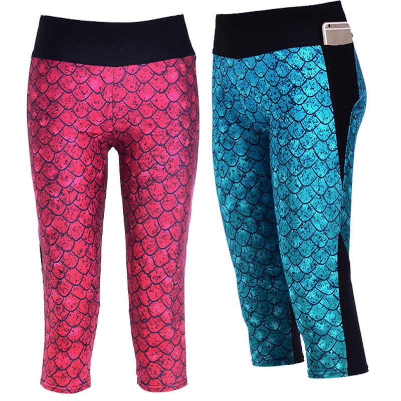 e38dfcafc42bd Women Summer Printed Mermaid Mesh Leggings Capris Elastic Slim Fitness Mid  calf Pants Workout Wear Fashion Legging Plus Size 4XL-in Leggings from  Women's ...