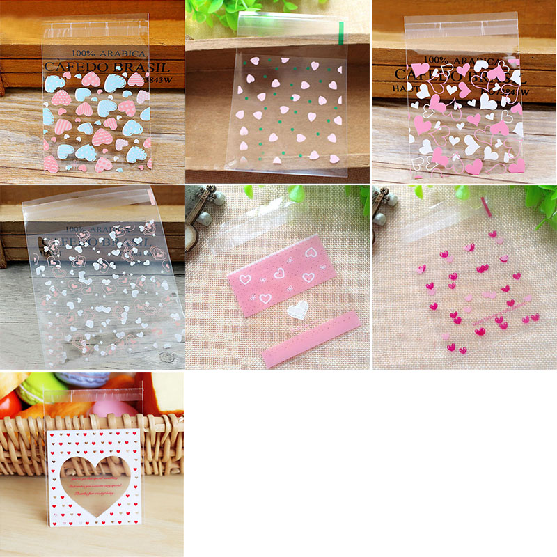 50pcs Cute Cartoon Plastic Bag Wedding Birthday Party Favors Cookie Candy Gift Packaging Bags OPP Self Adhesive Pouch Bags birthday cake