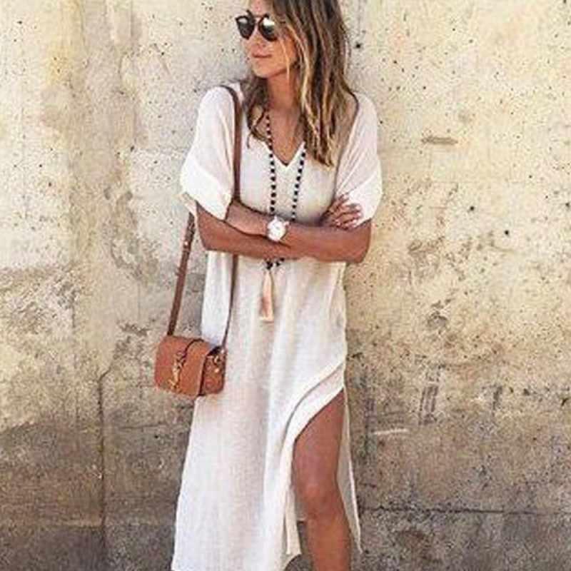 639add47510 Summer Maxi Dress Short Sleeve Casual Mini T-shirt Dress Cotton and Linen V-