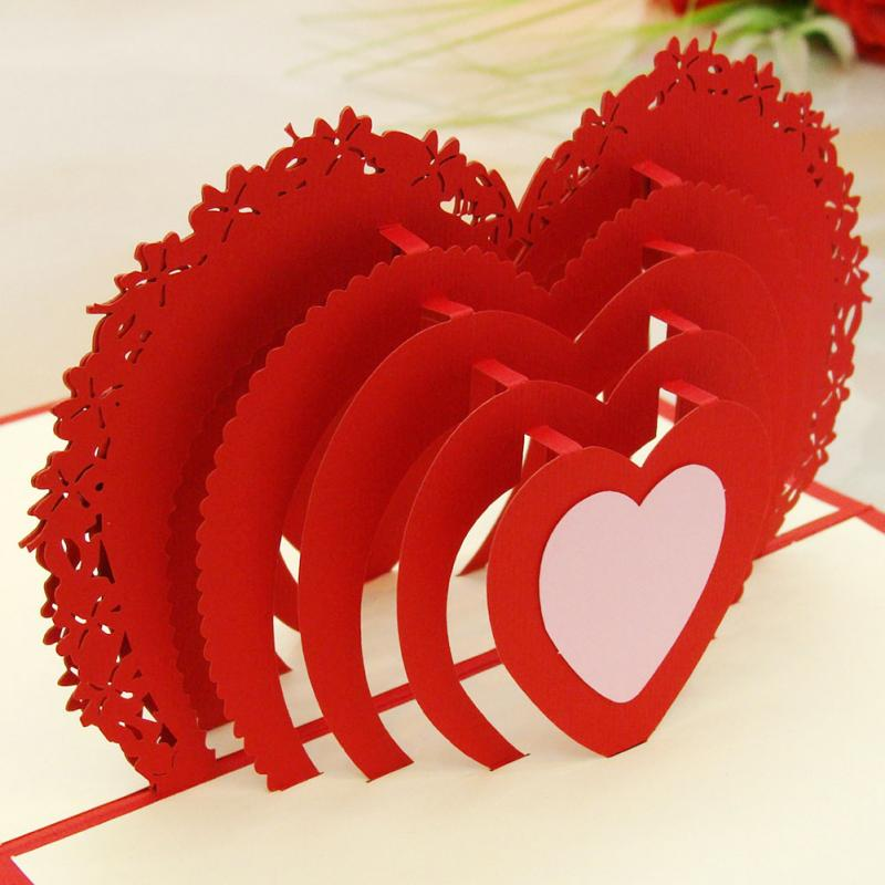 Essential Birthday Celebration Greeting Card 3d Red Love Heart