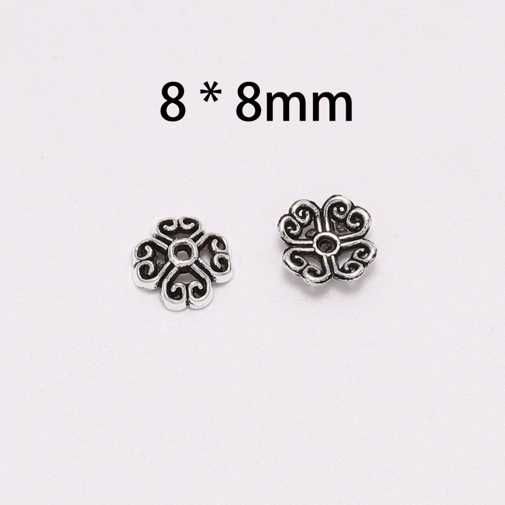 50pcs Lot 8mm 4 Petals Antique Silver Peach Heart Flower Loose Sparer Apart Torus End Bead Caps For DIY Jewelry Making Findings in Jewelry Findings Components from Jewelry Accessories
